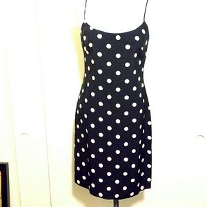 LAUNDRY - SHELLI SEGAL Silk B&W Polka Dot Dress